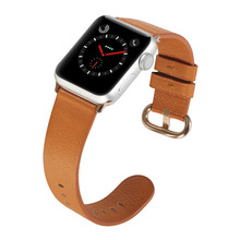 купить Leather Watchband for Apple Watch Band Series 3/2/1 Colorful Bracelet 42 mm 38 mm Watch Strap Brown For iwatch 4 Band дешево