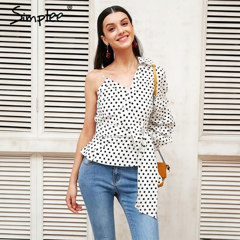 Simplee Pearl One Shoulder White Blouse Shirt Women Dot Lantern Sleeve Sash Feminine Blouse Summer Style Vintage Tops Female