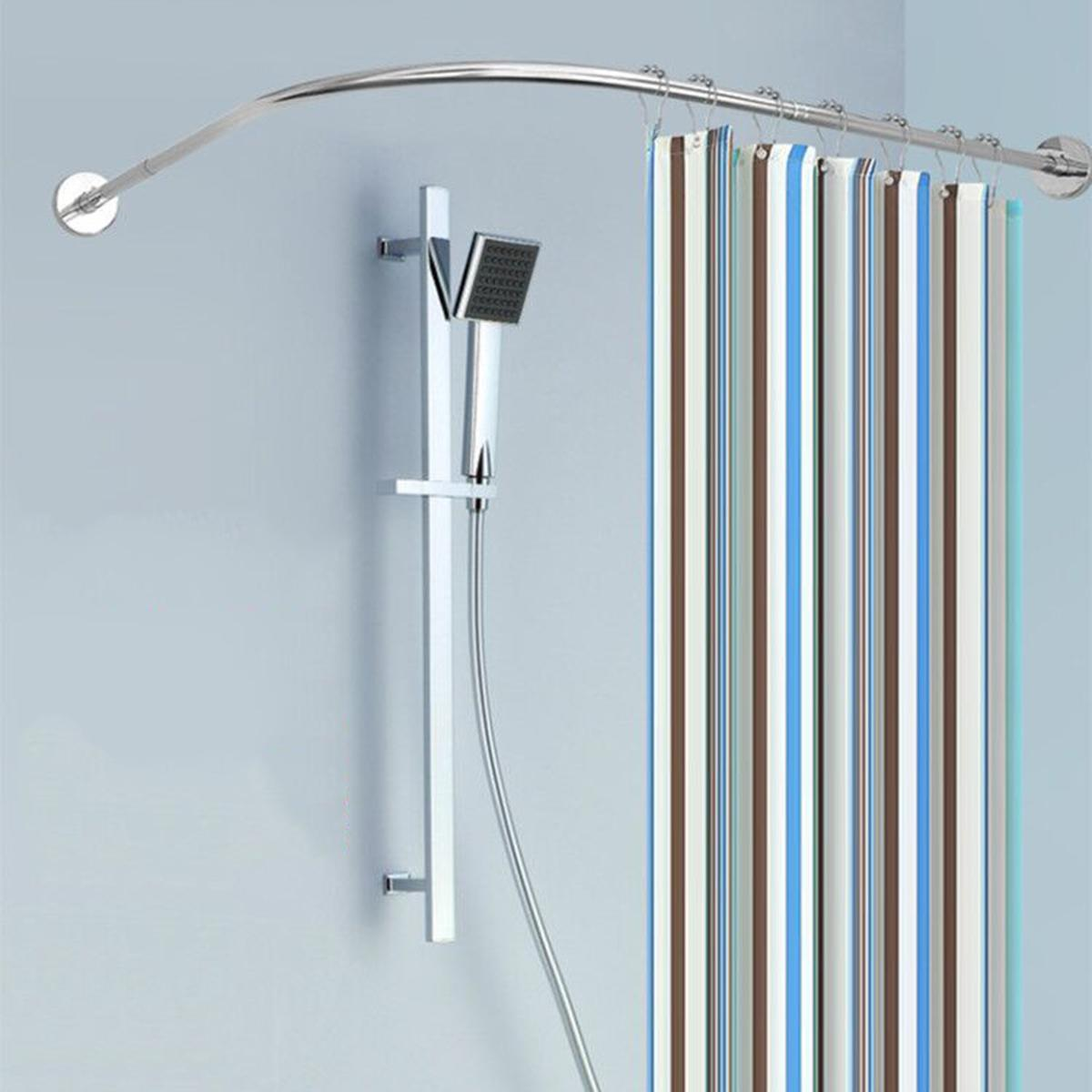 Extendable Curved Shower Curtain Rod U Shaped 201 Stainless Steel Shower Curtain Poles Punch-Free Bathroom Curtain Rail 6 Size