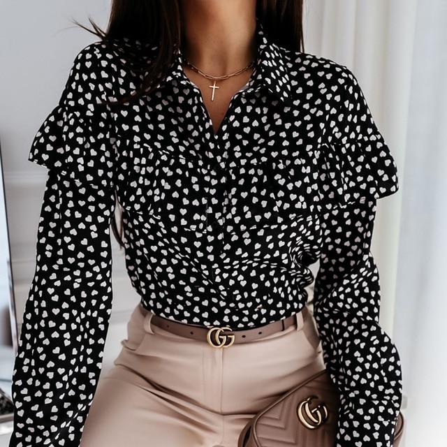 2020 Autumn Women Polka Dot Ruffle Blouse Shirt Elegant Fashion O Neck Buttons Streetwear Tops Lady Spring Long Sleeve Pullover 6