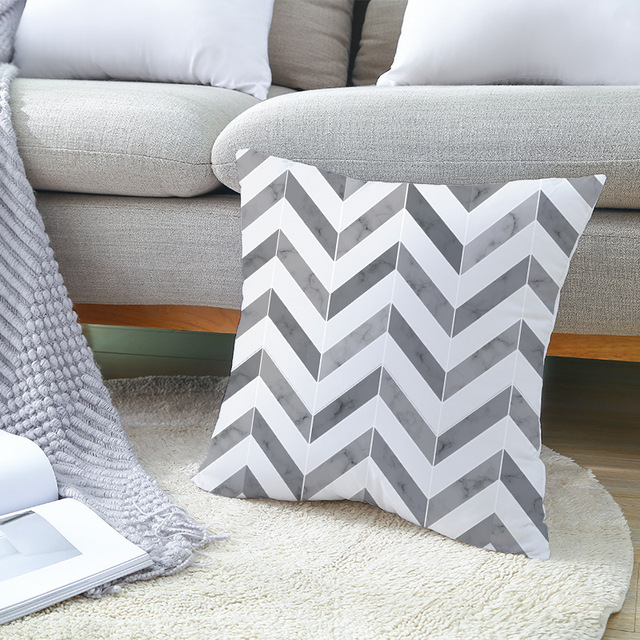 Geometric Patterned Black and White Cushion Cover 4