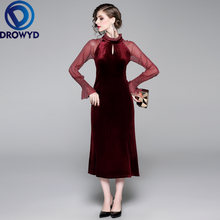 Элегантное Золотое бархатное платье миди женское осенне зимнее