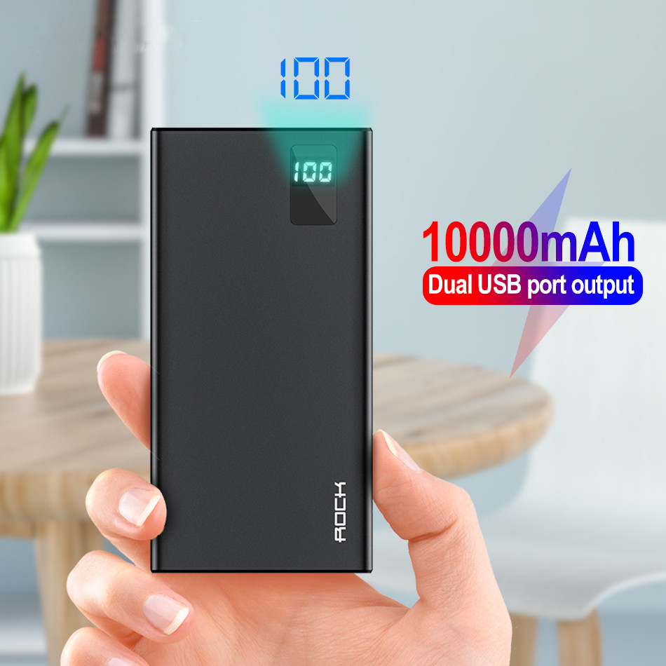 ROCK Power Bank 10000mAh Portable External Battery Dual USB Charge Fast Charging Portable Powerbank For Xiaomi Mi IPhone Samsung
