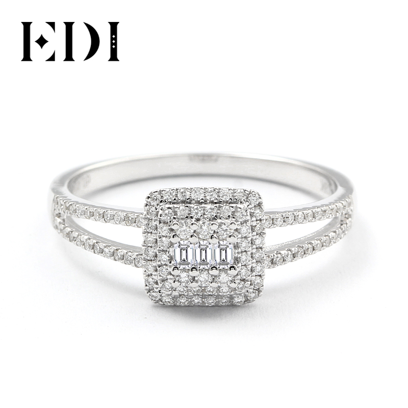 EDI Light Luxury Diamond Engagement Ring Real 18k White Gold 0.4cttw Natural Diamond Triple Halo Ring Wedding Jewelry Gift