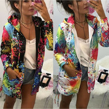 New Fashion Spring Women Casual Hooded Hoodies Printed Sweatshirt Parka Jacket Coat Outwear Overcoat fashion casual printed floral hooded sweatshirt