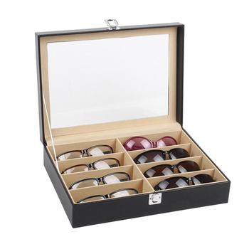8-Grid Eye Glasses Case Faux Leather Sun Glasses Box Glasses Holder Storage Box Glasses Box Display Collection Glasses Jewelry marble foldable glasses box