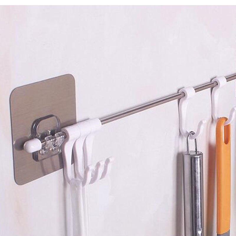 Silber + Weiß Set Von Edelstahl Stangen Nahtlos Angebracht Sechs-Verbunden Haken Hause Rack Handtuch Rack Küche Gadget lagerung Rack