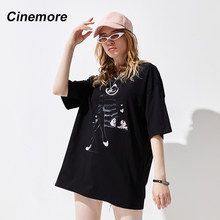 Cinemore Fashion Loose Chic Casual Women T-Shirt Short Sleeve Casual Dipdye Individuation Cartoon Famale Streetwear Tops T96126