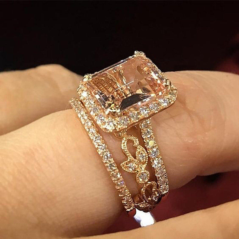 USTAR Square champagne Cubic Zirconia wedding Rings set for women jewelry Sparkly crystals Carving Gold rings Female Anel gift in Wedding Bands from Jewelry Accessories