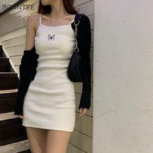 Платье женское без рукавов с принтом бабочки, милый пикантный облегающий сарафан с глубоким вырезом, модные базовые универсальные летние п...