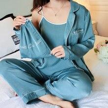 Pijama de seda de 7 piezas, ropa de dormir para mujer, conjuntos de Otoño Invierno, Tops de verano + Pantalones + camisa + Pantalones, Conjunto de pijama Sexy de moda