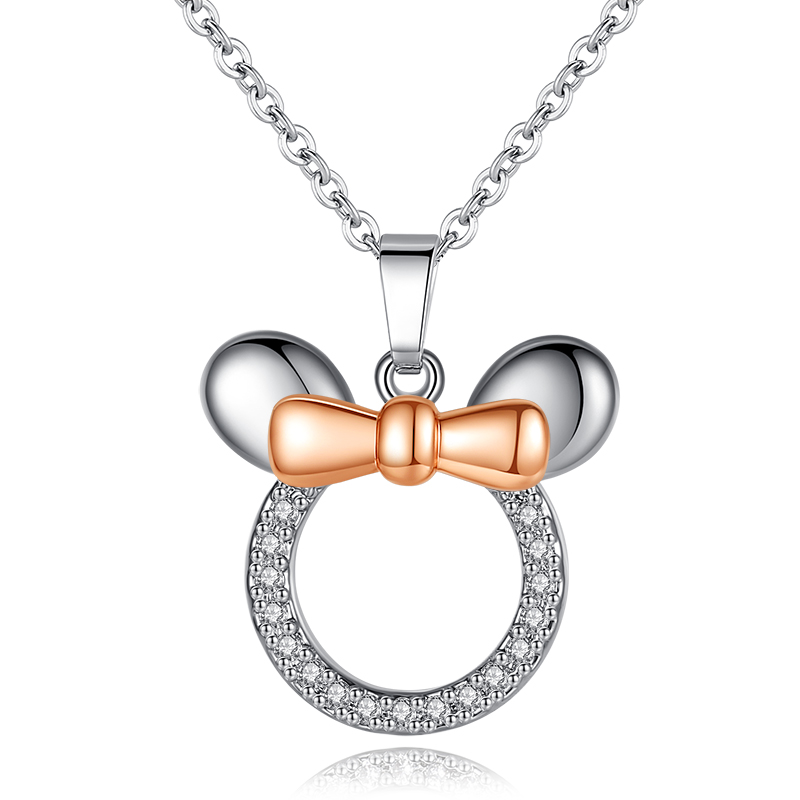 Fashion Cute Mickey Minnie Pendant Necklaces earring set for Women Cartoon Rose Gold and Zircon Dream Love jewelry set