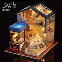 DIY Seatle Red Car Handmade Villa Wooden Dollhouse Furniture Miniature Handcraft Forest Building Unisex Kids Assembling Toy Doll