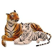 Peluche de leopardo y Tigre realista para niños, juguete de felpa suave de 30-90cm, simulación de tigre blanco, regalo de cumpleaños