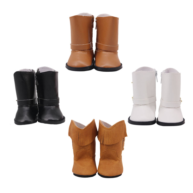 New Fashion Doll Shoes 7.5cm Leather Boots For 18-inch American Doll Accessories, Generation, Girl Birthday Gift
