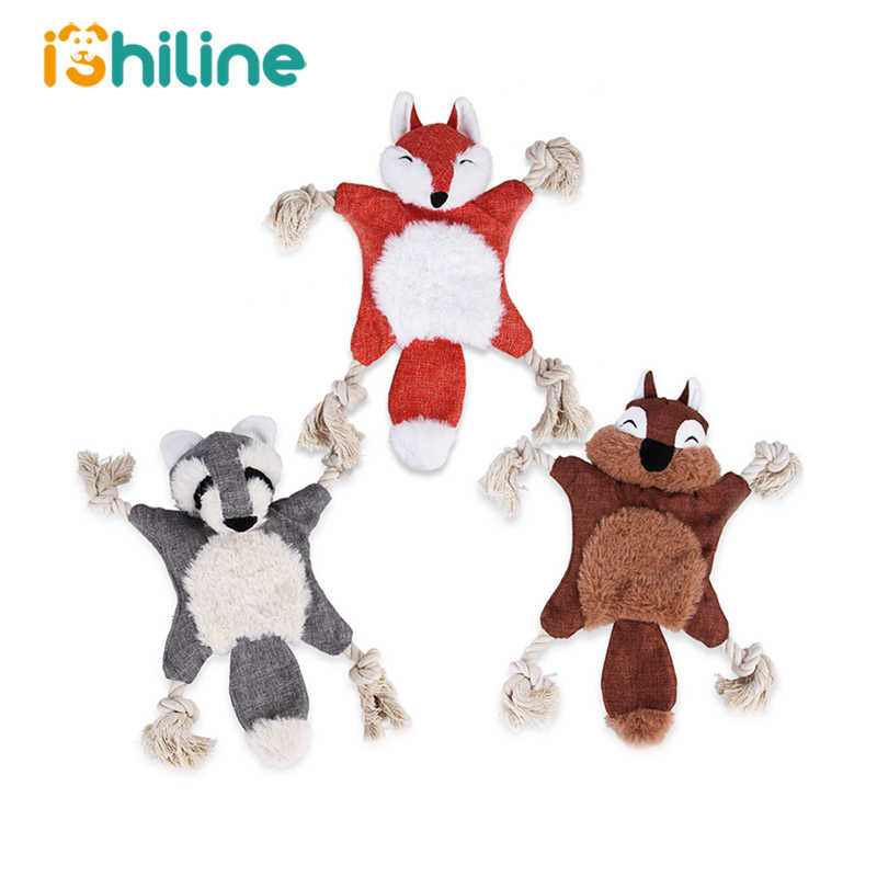 1 PC Cute Dog Toy Fox Squirrel Bear Squeak Toy For Dog Puppy Plush Rabbit  Monkey Sounding Pet Dog Toys Bite Resistant Toy