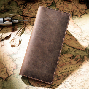 Image 4 - Moterm Crazy Horse Leather Long Wallets Genuine Leather Bifold Men Wallet Vintage Male Purse  carteira feminina Free shipping