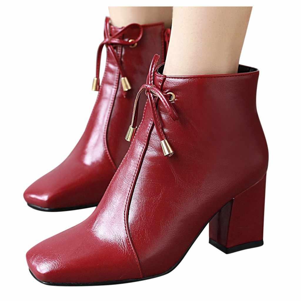 ฤดูหนาวสแควร์ Toe รองเท้าผู้หญิงแฟชั่น LACE-Up Bow ส้นสูงซิปสีทึบสั้น Booties หนังข้อเท้ารองเท้าบูทสำหรับสตรี