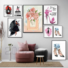 Vogue Girl Book Paris Perfume Flower Wall Art Canvas Painting Nordic Posters And Prints Pictures For Living Room Home Decor