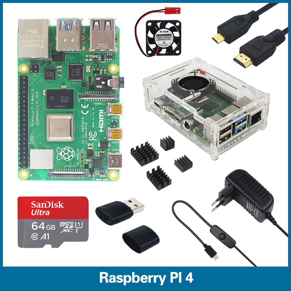 S ROBOT Raspberry Pi 4 Model B 1/2/4GB RAM Kit | Box&Case | Fan | Heat Sink | Power Adapter | 32 64 GB SD Card |RPI2