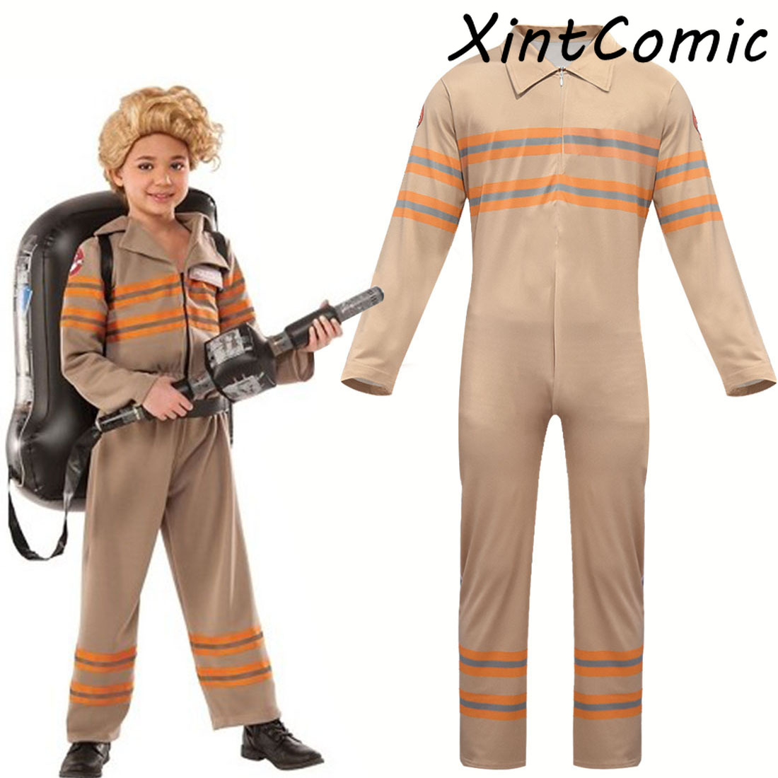 Kids Ghostbusters Jumpsuits Cosplay Costume Kids Boy Girl Ghostbusters Work Bodysuit Cosplay Halloween Party Costumes
