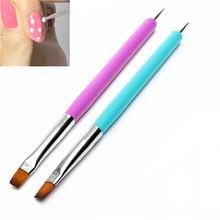 Nail Art Acrylic UV Gel Extension Builder Petal Flower Painting Drawing Brush Pen Manicure Tools 2-Way