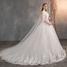 2019 Chinese Wedding Dress With Long Cap Lace Wedding Gown With Long T