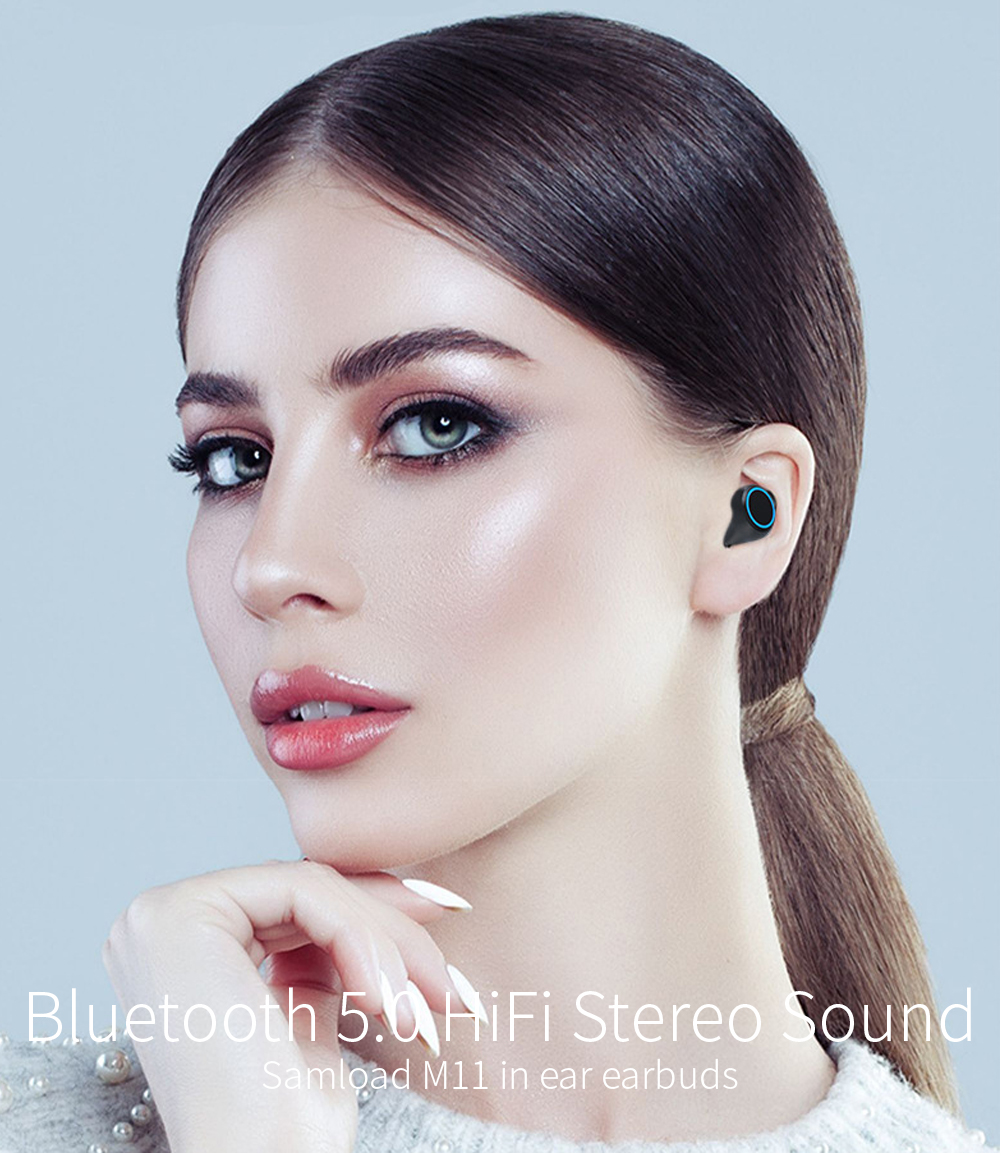 Samload True Wireless Headphones Bluetooth Earphone 5.0 HIFI Sound with LED display Charging case for iPhone Xiaomi Samsung Sony