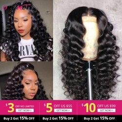 Бразильская глубокая волна Синтетические волосы на кружеве человеческих волос парики для чернокожих Для женщин 150 Плотность 13x4 Синтетичес...
