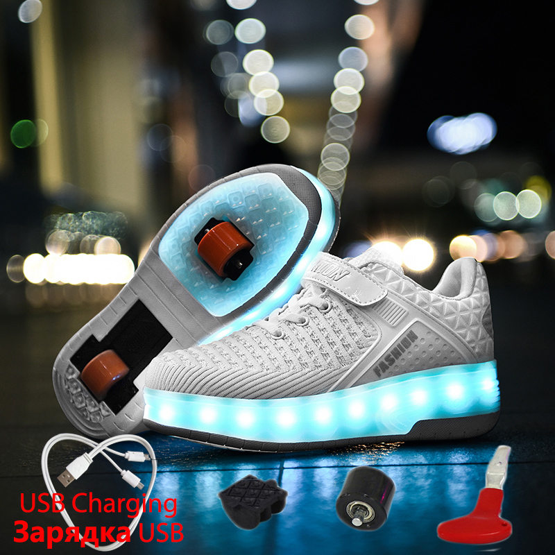 Glowing Sneakers USB Charging Girls Led Shoes White Sneakers Rollers For Boys Children's Shoes With Wheels Lights Luminous Shoes