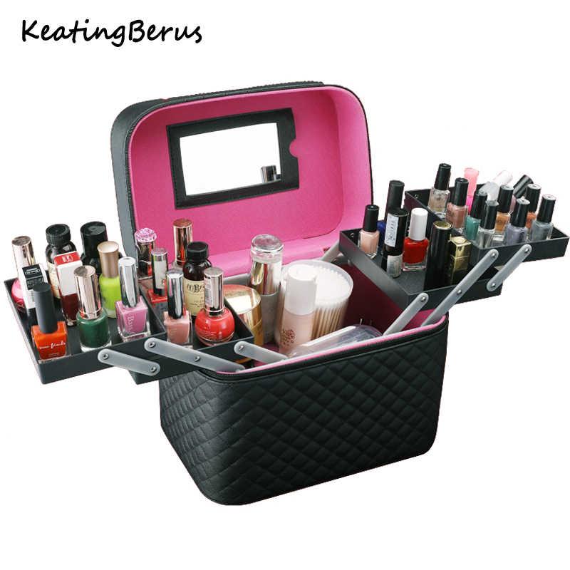 Kadınlar büyük kapasiteli çok katmanlı saklama kutusu taşınabilir güzel bavul profesyonel makyaj organizatör moda makyaj çantası