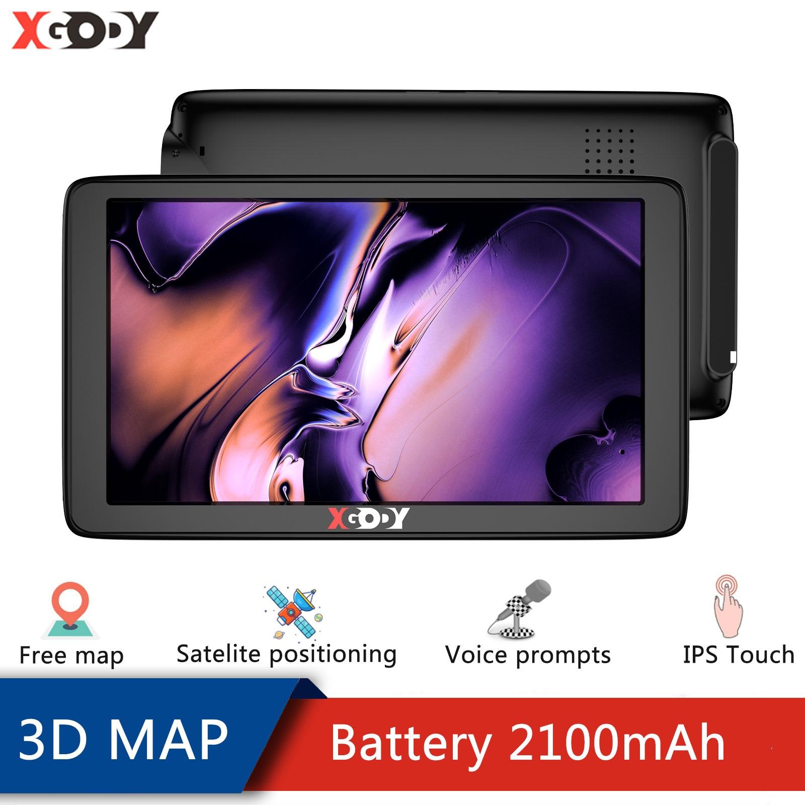 Xgody автомобиля GPS навигатор 7 дюймов сенсорный экран Экран GPS навигатор грузовик Зонт спутниковой навигации 256 м + 8G 2020 в европейском и америка...