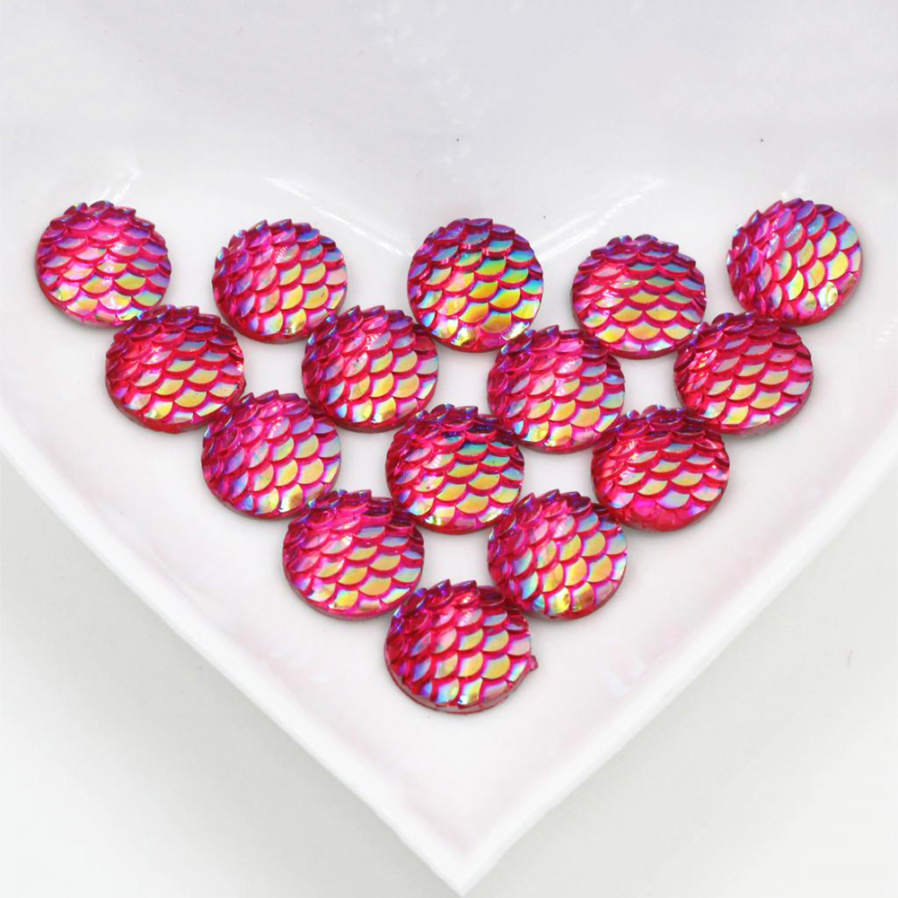 New Fashion 40pcs 12mm Rose Red Colors Fish Scale Style Flat Back Resin Cabochons For Bracelet Earrings Accessories-Z5-33