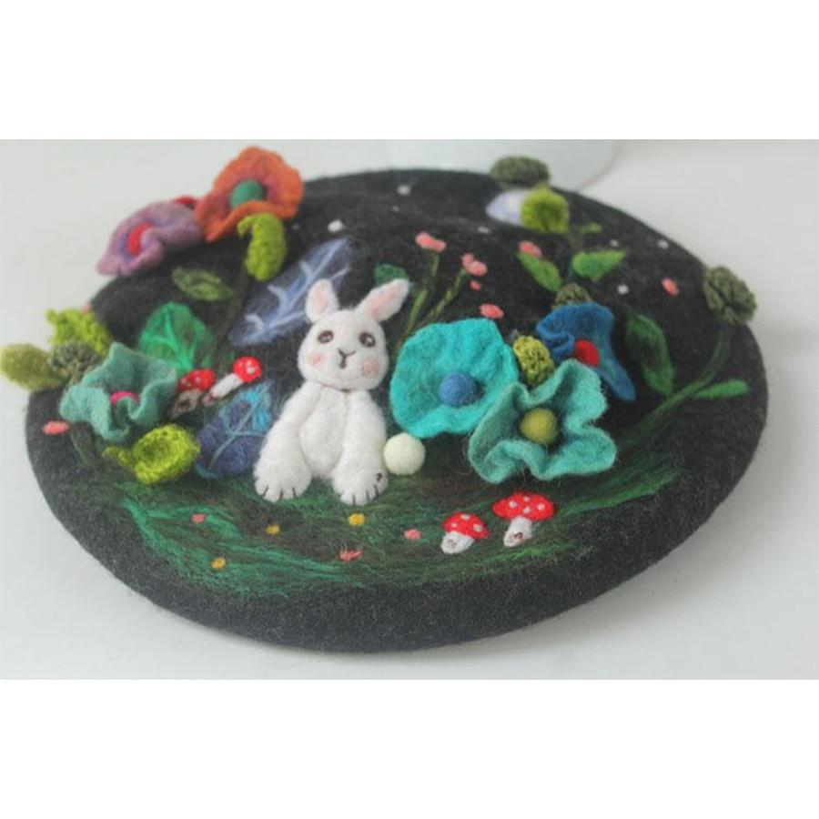 Mysterious Jungle Wool Beret Cap Ladies Hand Embroidered Korean Winter Warm Berets Hat Women Cute Rabbit Christmas New Year Hats - 5