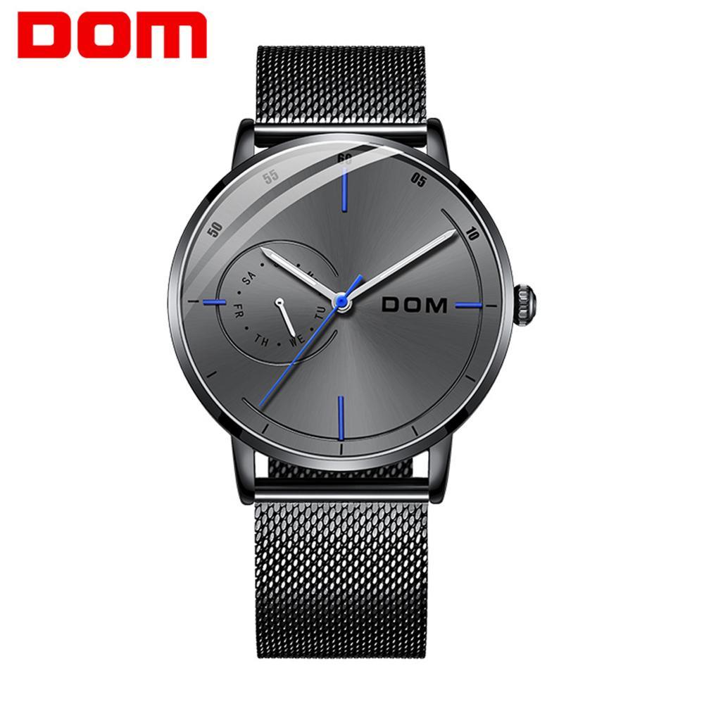 DOM New Fashion Sports Mens Watches Top Brand Luxury Waterproof Simple Ultra-Thin Watch Men Quartz Watch Clock M-1273BK-8M