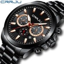 цена на Relogio Masculino CRRJU New Sport Chronograph Men Watch Top Brand Luxury Full Steel Quartz Clock Waterproof Big Dial Watch Men