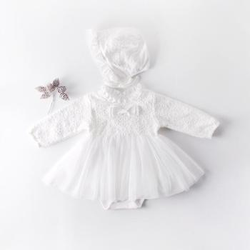Babe Girls Bow Lace Tutu White Color Rompers with Hat Wedding Birthday Party Princess Cute Kids Newborn Ins Clothes Romper