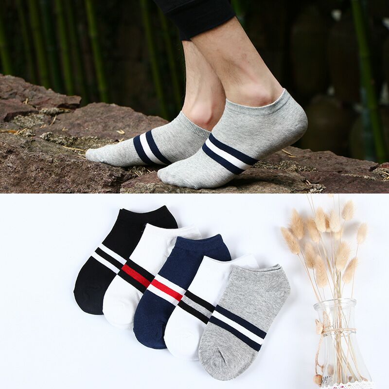 men's socks cotton striped boat socks four seasons spring and autumn men's casual Harajuku breathable men's socks Meias