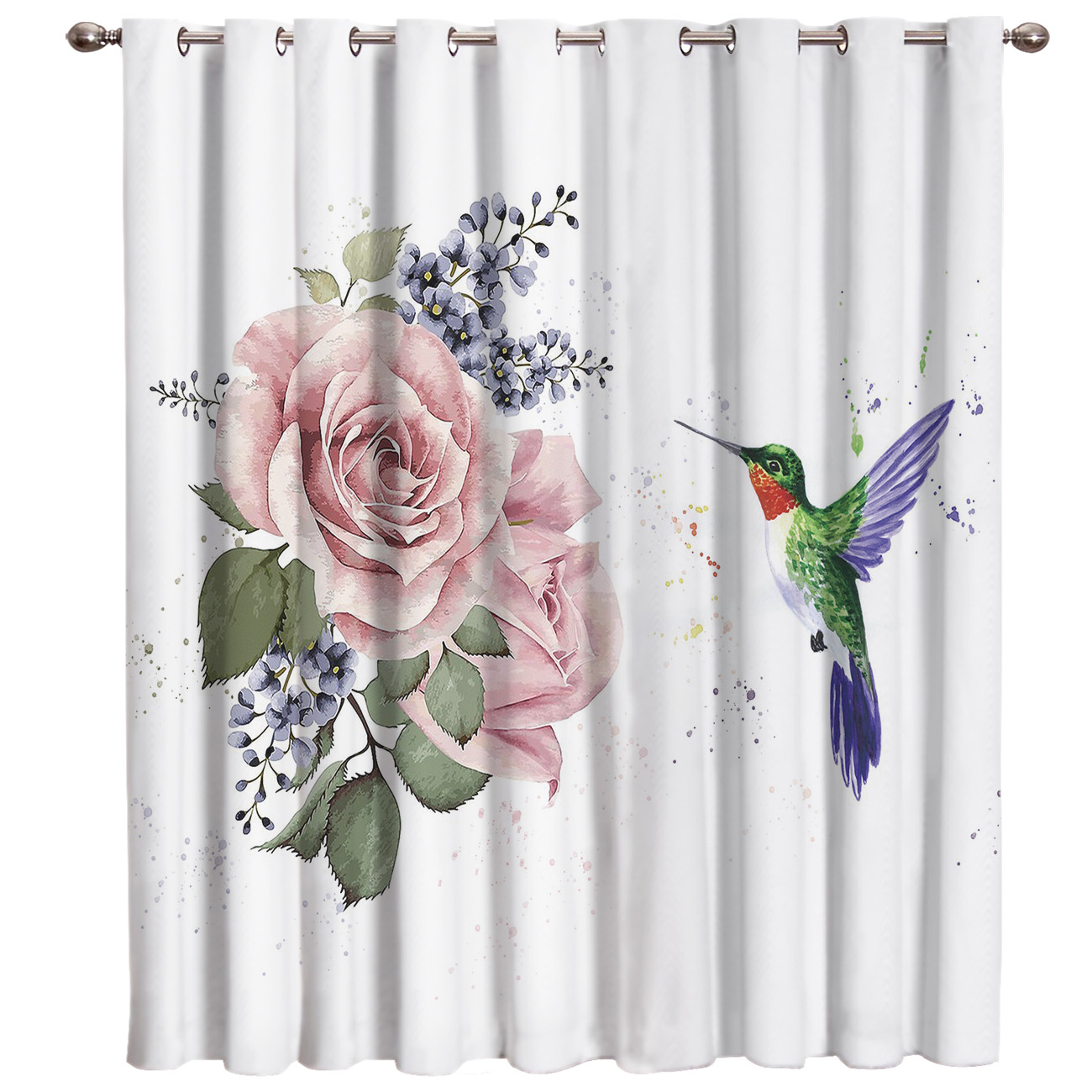 The Hummingbird Flew To The Petal Floral Fabric Kids Window Treatment Hardware Sets Curtain