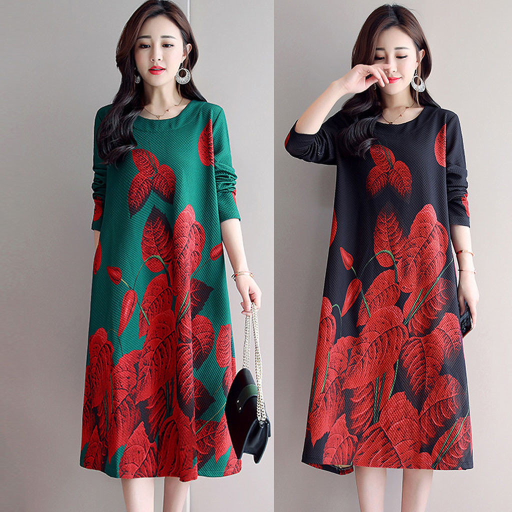 Dresses For Women Casual Long sleeve Long O Neck Floral Printed Loose Dress
