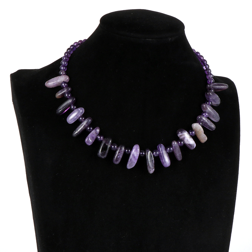 Women Natural Stone Amethysts India Onyx Lapis Lazuli Necklace Irregular Beaded Stand Stand Clavicle Chain Chokers Party Jewelry