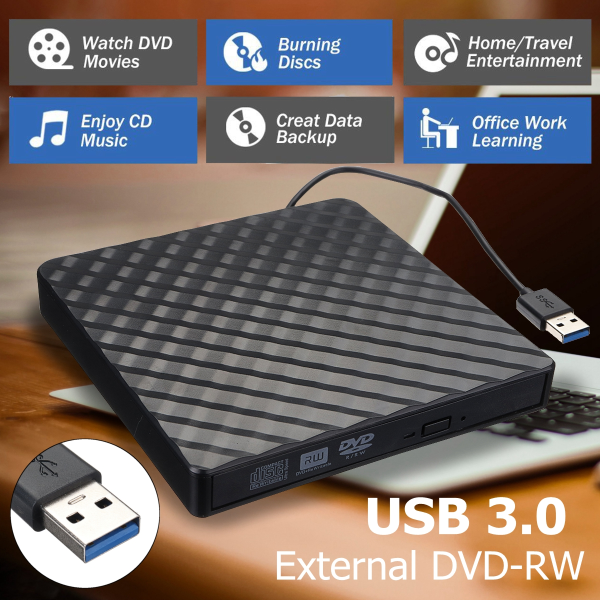External USB3.0 DVD RW CD Writer Slim Optical Drive Burner Reader Player Tray Type Portable For PC Laptop
