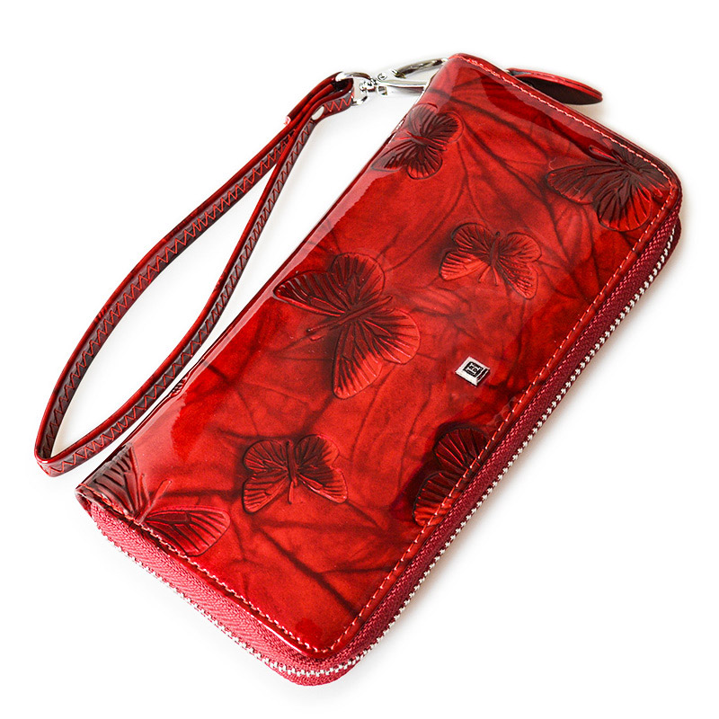Women Wallet Genuine Leather Butterfly Print Pocket Wrist Wallet Female Zipper Long Wallets Lady Wristlet Clutch Bag Coin Purse