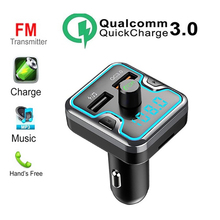 Bluetooth 5.0 QC 3.0 FM Transmitter For Car Wireless Radio Receiver Adapter with Dual USB Type-C Charging Drive TF