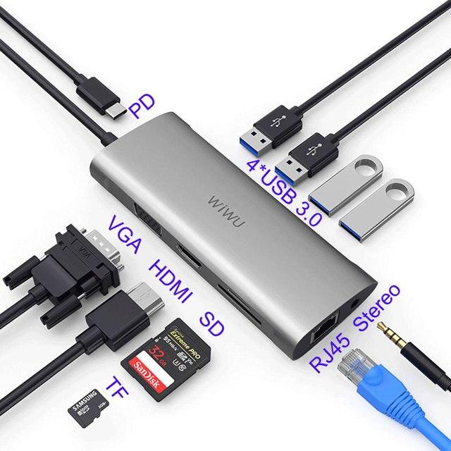 WIWU 11 in 1 Multi USB 3.0 Hub for MacBook Pro USB Adapter Dock Charging Type c Hub HDMI RJ45 VGA USB Splitter 3.0 USB C Hub