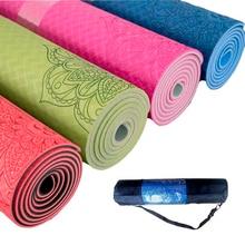 лучшая цена 1830*610*6mm TPE Yoga Mat Environmental Fitness Mat Fitness Yoga Sport Mat Gymnastics Mats With Yoga Bag Balance Pad Yoga mat