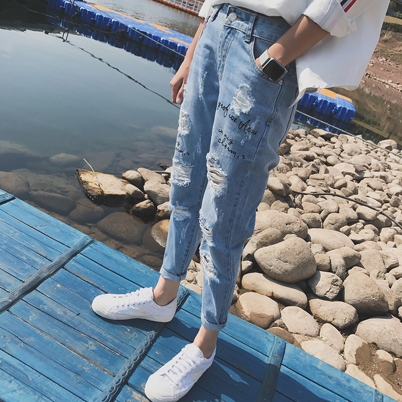2018 Summer Thin Section Beggar With Holes Jeans Men's Trend Korean-style Harem Skinny Pants English Embroidery Capri Pants