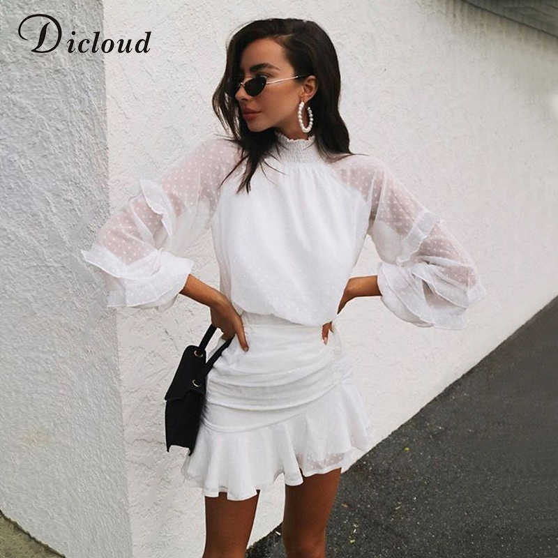 DICLOUD Elegant High Neck Women Ruffle Dress White 2020 Dot Long Sleeve Sexy Pleated Mini Party Bodycon Dress Spring Summer