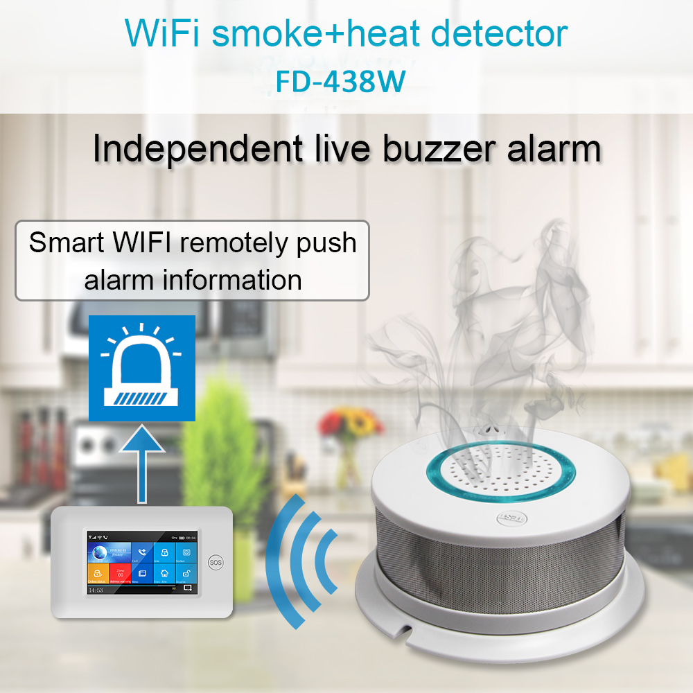2-in-1 Smart Wireless WIFI+APP Fire Smoke & Temperature Sensor Wireless Smoke Temperature Detector Home Security Alarm System