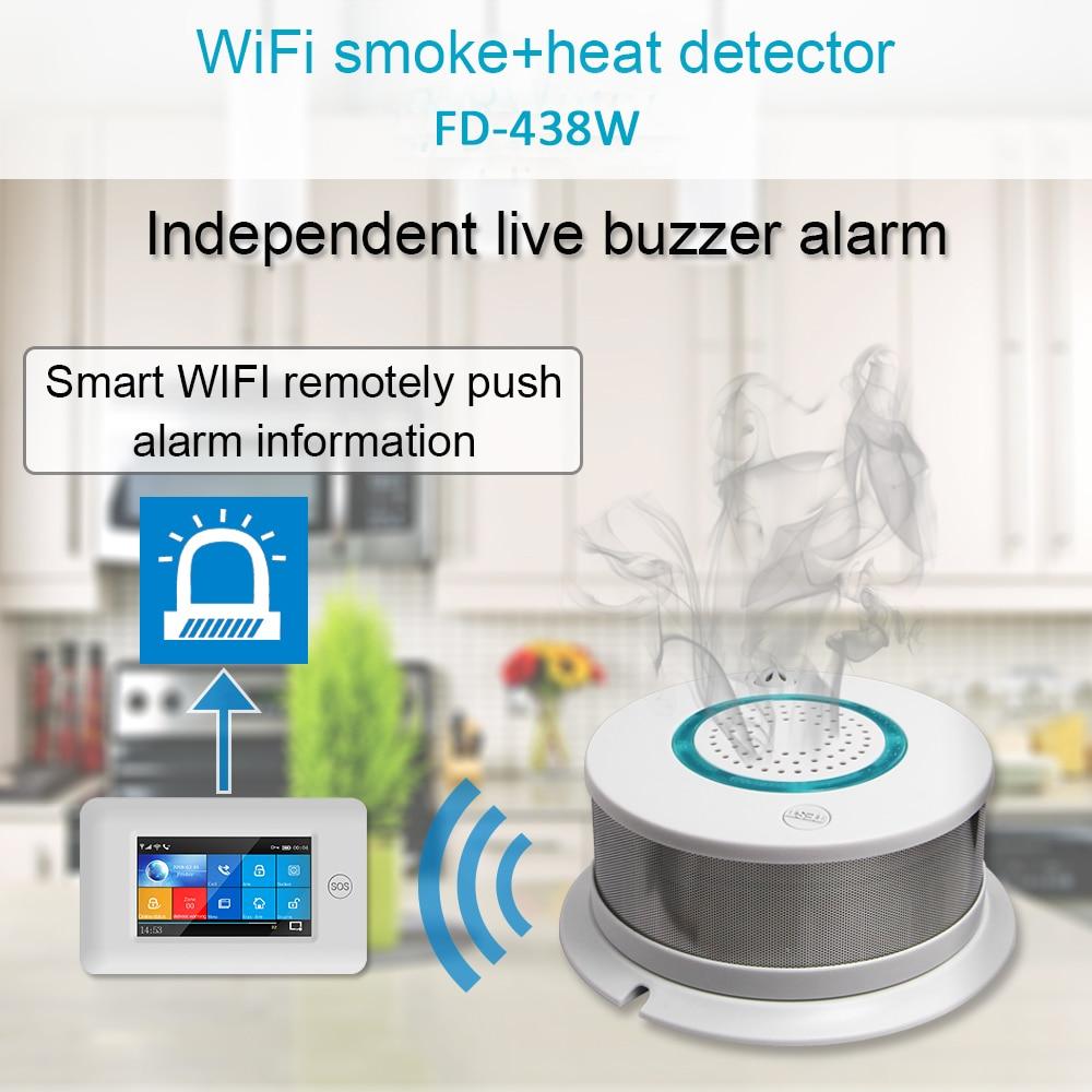 2-in-1 Smart Wireless WIFI+APP Fire Smoke & Temperature Sensor Wireless Smoke Temperature Detector Home Security Alarm System